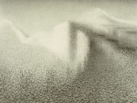 Wang Shu Ye, A space time nude like the great wall of China - identical, Encre de Chine sur papier, 2014